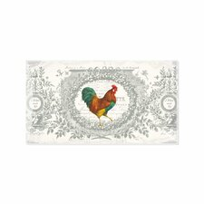 French Rooster Rectangular Glass Dish