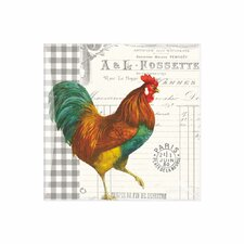 French Rooster Square Glass Dish