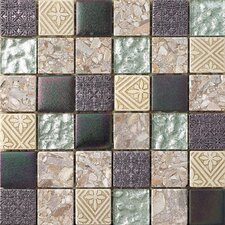 """2"""" x 2"""" Textured Stone / Metal Hand-Painted Mosaic Tile in 3 Color Blend"""