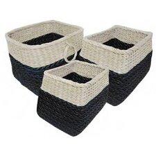 Signature Home 3 Piece Naturally Woven Rectangle Natural Basket Set