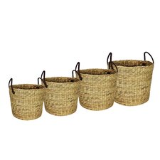 Signature Home 4 Piece Naturally Woven Round Basket Set