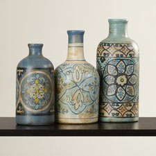 3 Piece Hand Painted Decorative Bottle Set