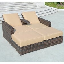 3 Piece Double Chaise Lounge with Cushions