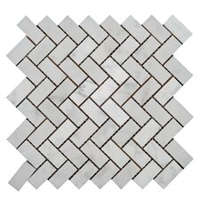 "Bianco Carrara 3/4"" x 2"" Herringbone Mosaic Polished"