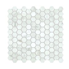 "Bianco Carrara 1"" Honey Comb Polished Mosaic Tile"