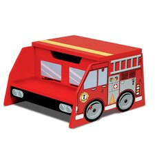 Firefighter 2-Step Manufactured Wood Fire Truck Step Stool