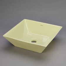 Square Ceramic Vessel Bathroom Sink in Pear Green