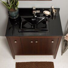 "TechStone™ 37"" x 22"" Vanity Top in Broad Black - 3/4"" Thick"