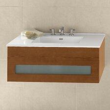 "Rebecca 36"" Wall Mount Bathroom Vanity Base Cabinet in Cinnamon"