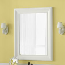 "Traditional 29"" x 37"" Solid Wood Framed Bathroom Mirror in Cream"
