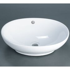 Oval Ceramic Vessel Bathroom Sink with Overflow