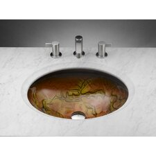 Oval Tempered Glass Vessel Bathroom Sink in Clear Amber