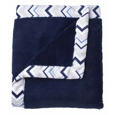 Classic Collection Navy Cuddle Plush Blanket with Printed Valboa Border