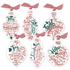 6 Piece Red & White Ornaments Set