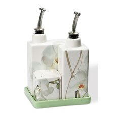 Vivere 5 Piece Orchid Oil, Vinegar, Salt and Pepper Set on Tray