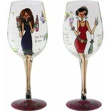 Women Wining-Bottom's Up Wine Glass