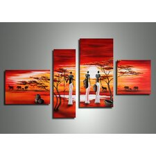 African Women Landscape 4 Piece Original Painting on Canvas Set