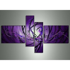 Abstract 4 Piece Original Painting on Canvas Set in Purple