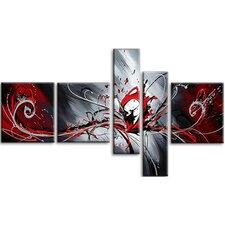 Splash Abstract 5 Piece Original Painting on Canvas Set