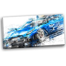 Burning Rubber Blue Super Car Graphic Art on Wrapped Canvas