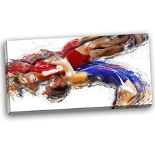 Wrestling Body Slam Painting Print on Wrapped Canvas