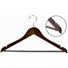 Flat Wooden Suit Hanger with Non-Slip Bar (Set of 100)