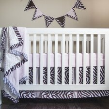 Zara Zebra 4 Piece Crib Bedding Set