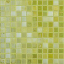 "Lux Eco 12.375"" W x 12.375"" L Glass Mosaic in Lemon Lime"