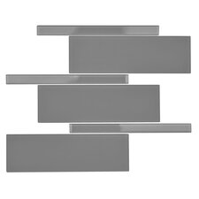 Avenue Random Sized Glass Mosaic Tile in Urban Grey
