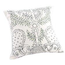 Madhubani Tree of Life Hand Painted Pillow