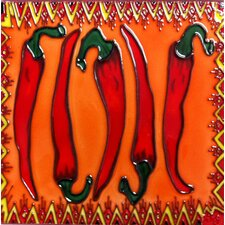 Red Chili Pepper Tile Wall Decor