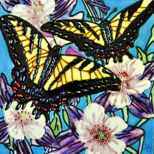 2 Butterflies With Blue Background Tile Wall Decor