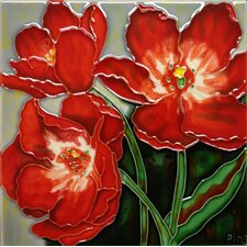 3 Red Poppies Tile Wall Decor