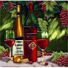 Wine Bottle with Red Grape Tile Wall Decor