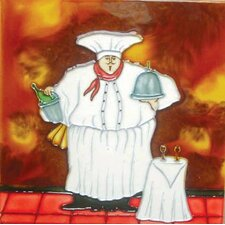 Fat Chef with Side Table Tile Wall Decor