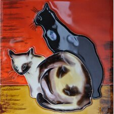 2 Cats With Orange Background Tile Wall Decor