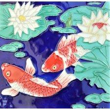Koi Fish Blue Background Tile Wall Decor