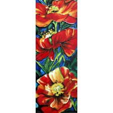 3 Red Poppy Flowers Tile Wall Decor