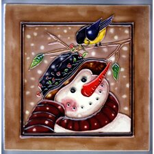 Snowman With Brown Background Tile Wall Decor