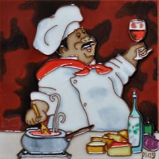 Chef with Red Wine Tile Wall Decor