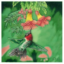 Hummingbird with 2 Red Flowers Tile Wall Decor