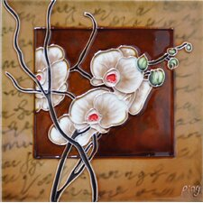 White Orchid With A Light Brown Frame Tile Wall Decor