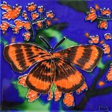 Orange Butterfly Tile Wall Decor