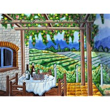 Vineyard with Trellis Wall Tile Wall Decor