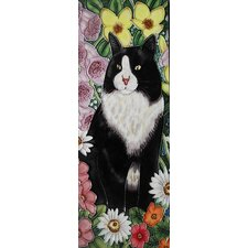 Cat with Flowers Tile Wall Decor