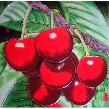 Cherries Close Up Tile Wall Decor