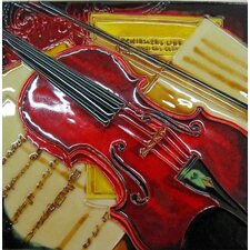 Red Violin Painting Tile Wall Decor