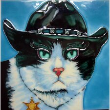 Sheriff Cat Tile Wall Decor