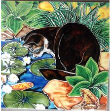 Cat By The Pond Tile Wall Decor