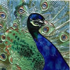 Blue and Green Peacock Tile Wall Decor